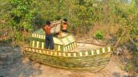原始技术,建造小船外形的庇护所,两兄弟很有创意