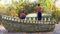 野外兄弟俩手工打造一座船屋,真是会玩,让我想起了小时候的生活