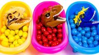 从彩色豆豆里给恐龙找到属于自己的头部组装积木恐龙
