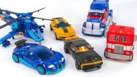 六辆不同类型汽车卡车直升机机器人玩具