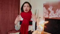 年度时尚:黑色外套+大红色围巾,红黑对比很明显,巧妙搭配很经典