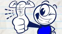 笔绘卡通:铅笔人擂台拇指摔跤比赛