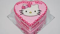 超美的凯蒂猫生日蛋糕,做法简单,周末做给女儿吃