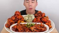 韩国吃播:美食吃货chiyoon,辣无骨鸡爪和调味炸鸡