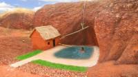 原始技术,野外搭建庇护所挖游泳池,山坡上引流干净的水源