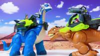费雪侏罗纪世界恐龙救援队蓝色腕龙战士侏罗纪霸王龙PK神奇女侠