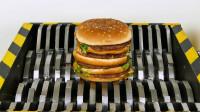 当汉堡遇上粉碎机,汉堡会是什么下场?睁大眼睛看仔细!