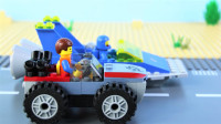 定格动画-乐高城市故事之艾米特搭建赛车积木进行比赛
