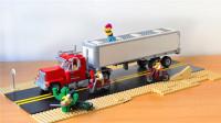 乐高MOC带有拖车的擎天柱款美式大卡车积木