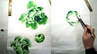 绿色牡丹的完整构图画法1/2 小石国画入门