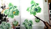 绿色牡丹的完整构图画法 2/2 小石国画