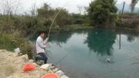 小伙深潭钓鱼,大货不停上钩,甩竿甩到手软,收获十几斤河鱼