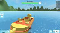 Roblox 大白鲨模拟器 乘坐黄皮小鸭子船逃出大白鲨的攻击!进击的剧情解说
