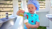 萌娃小可爱出门卖冰淇淋了,小家伙真是勤劳能干呢!