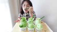 韩国吃播小姐姐,吃自制的抹茶冰淇淋,好享受的样子
