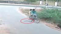 眼镜蛇向骑车男发起进攻 一转眼被卷进车轮