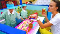 萌娃小可爱们在儿童乐园里体验当售货员,萌娃:卖冰淇淋啦!又香又甜的冰淇淋