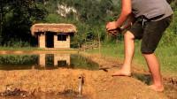 单挑荒野 生存哥 原始技术_农田灌溉(灌溉水稻用竹管供水)