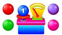 彩球和测量机玩具认识数字和色彩