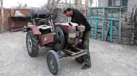 农村小伙发明手摇起动单杠柴油机,马力十足!