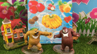 趣味积木水果拼图玩具,熊出没熊大熊二拼积木玩具!