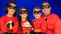 国外亲子美妆秀:小女孩将一家人化妆打扮成了超人总动员