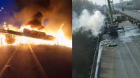 青银高速2货车相撞燃起大火 致高速拥堵1公里
