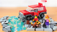乐高MOC拼装一辆红色炫酷的SUV越野汽车积木