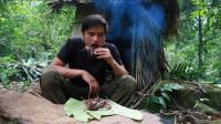 小伙丛林生存,自制陷阱狩猎老鼠烤着吃,在野外吃到肉真不容易!