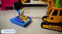挖掘机在客厅和哆啦A梦玩具玩的游戏