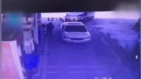 未拔油枪就开车 司机一脚油门拉翻加油机瞬间起火