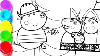 绘画和绘画粉红猪小孩家庭圣诞节时间着色书和儿童孩子的颜色