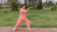 一本太极,绿意女士陈式太极拳,演练三。