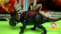 恐龙玩具:暴龙袭击三角龙,副帜龙帮忙,打败霸王龙