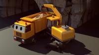 施工卡车挖掘机搅拌机帮助修复桥梁儿童卡通动画