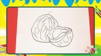 手绘水果简笔画之画椰子