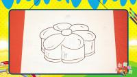 手绘食物简笔画之画卡通月饼