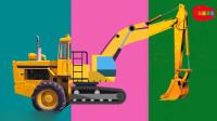 拼装挖掘机马车趣味拼图动画早教汽车视频