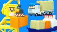 变形警车珀利的码头玩具货物装卸过家家