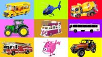 校车消防车飞机巴士拼图玩具亲子早教学颜色