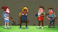 搞笑吃鸡动画:霸哥小分队杠上雌雄大盗,没想到马可波还是他叔叔!