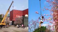 硬核拍照!大妈用吊车与花合影:系瑜伽馆的福利活动
