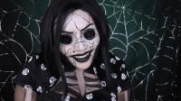 国外女子化妆秀:将自己美妆打扮成鬼妈妈的模样!