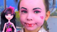 怪高娃娃仿妆秀:妈妈帮女儿美妆打扮成了吸血鬼