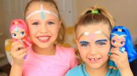 国外母女化妆秀:妈妈将两个女儿美妆打扮成了芭比娃娃!