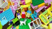 乐高玩具拆箱拼装小房子
