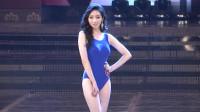 韩国国际模特大赛泳装系列走秀,有点腼腆的模特,多了一些清纯气质!