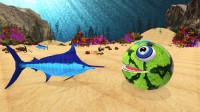 趣味益智动画片 大嘴怪在海底到处吃东西