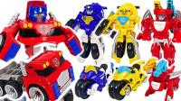 变形金刚救援汽车机器人大黄蜂摩托车和巨型擎天柱机器人变形玩具