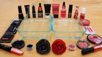 黑红玫瑰,各种化妆品混合到水晶泥来捏,过程超级爽